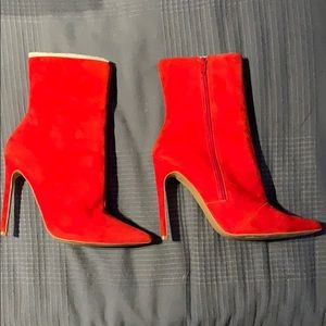 Red suede booties